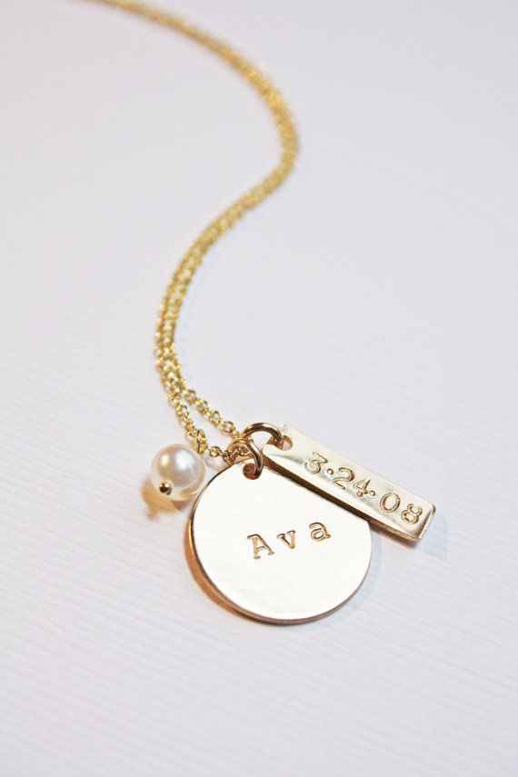 gold baby name necklace with pearl and birthdate custom