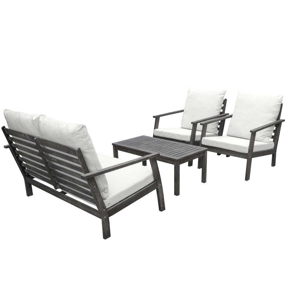 Sensational Vifah Renaissance 4 Piece Wood Patio Conversation Set With Ocoug Best Dining Table And Chair Ideas Images Ocougorg