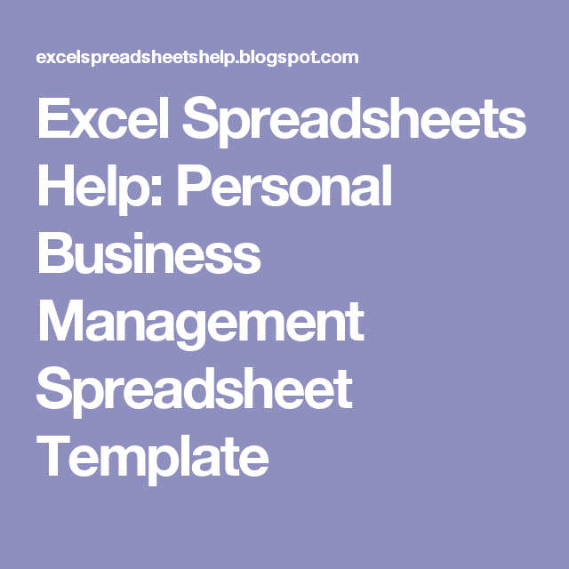 Excel Spreadsheets Help Personal Business Management Spreadsheet