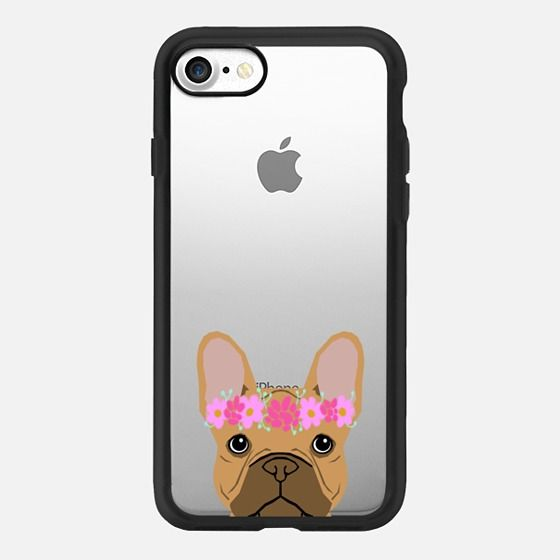Tan French Bulldog flowers cell iphone case for french bulldog owners - Classic Grip Case