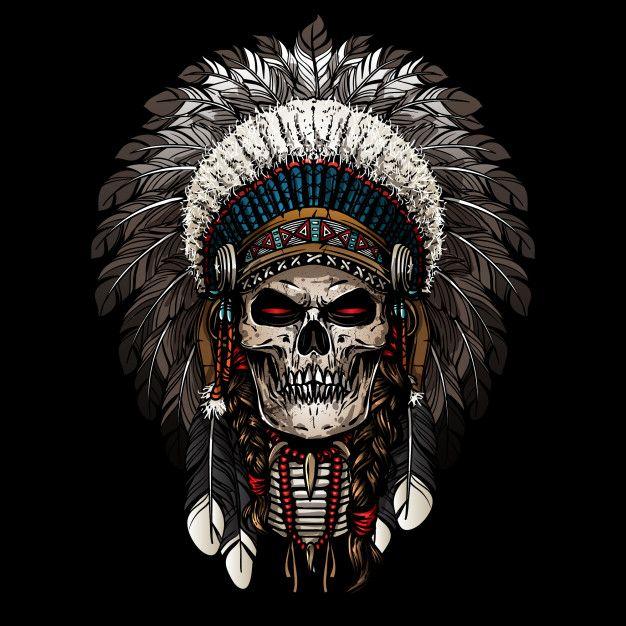 Warrior Of Indian Skull Indian Skull Tattoos Skull Wallpaper Indian Skull