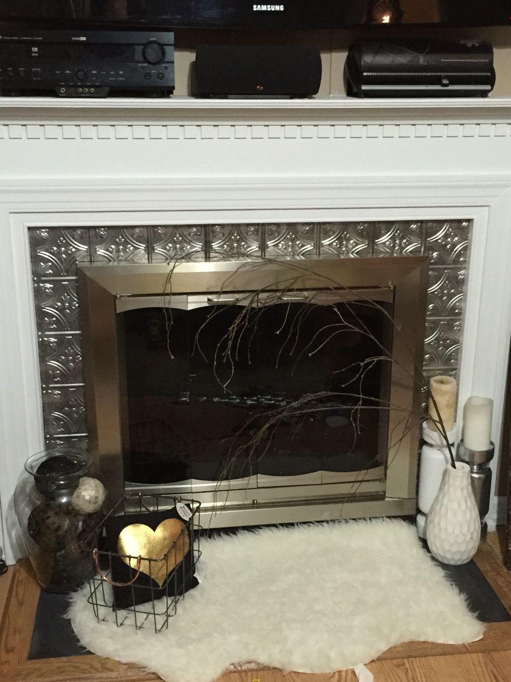 Faux Metal Tiles Around Fireplace