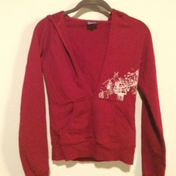 Juniors deep-v hoodie: sz S Bought in Montreal. Canadian brand. Sweatshirt material with stretch. Red with stitching detail. Runs small, so I would say this is XS, would be good for teen.  Excellent condition. Personalize your own bundle by commenting for discount! Tops Sweatshirts & Hoodies