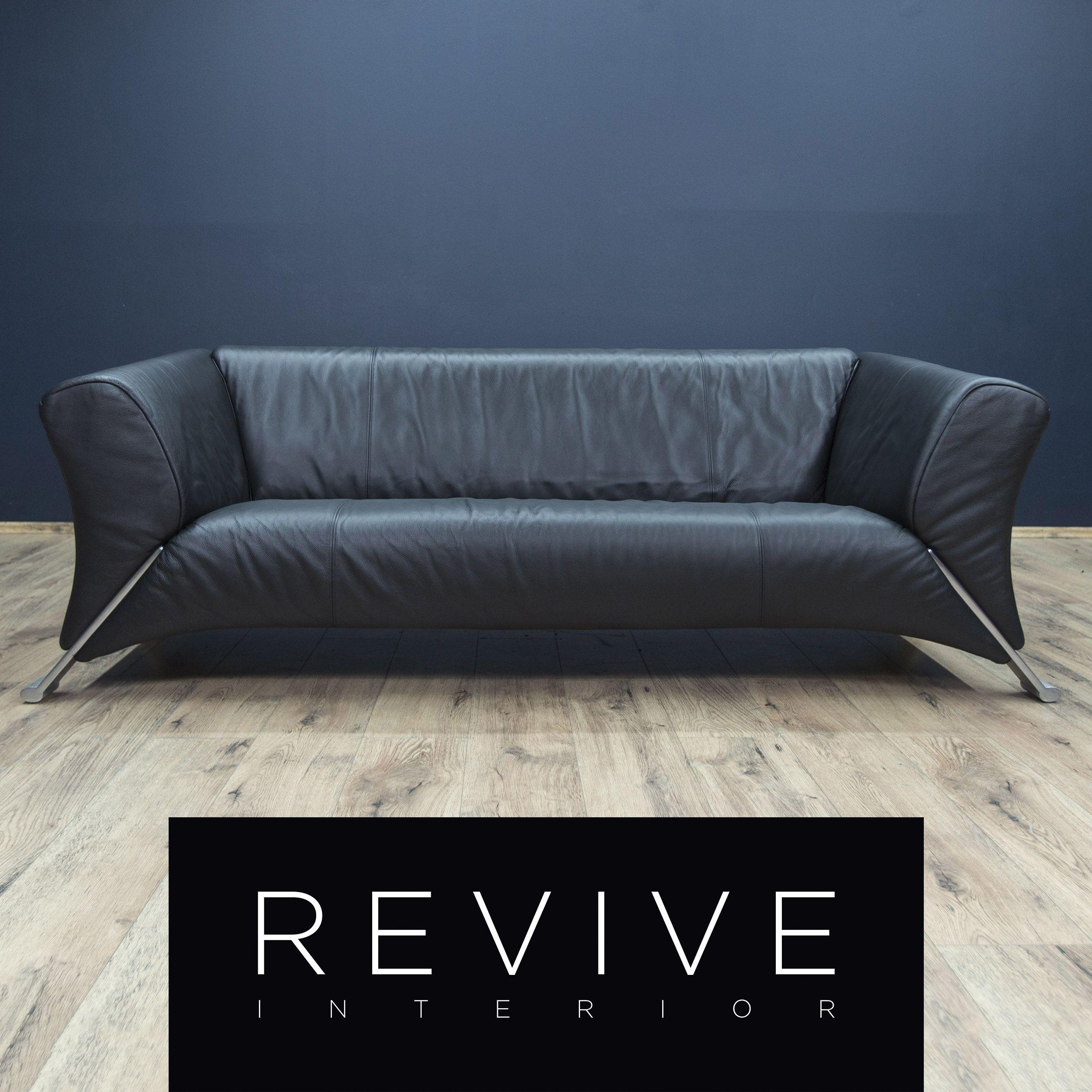 Rolf Benz 322 Designer Sofa Schwarz Leder Dreisitzer Couch Modern Echtleder  #1879 | Revive Interior