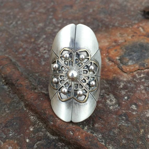 Filigree Sterling Silver Saddle Ring Boho Long by ShesSoWitte