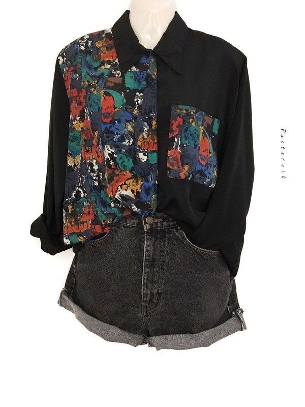 Mein True Vintage Original 80er Jahre Statement Bluse Hemd Muster