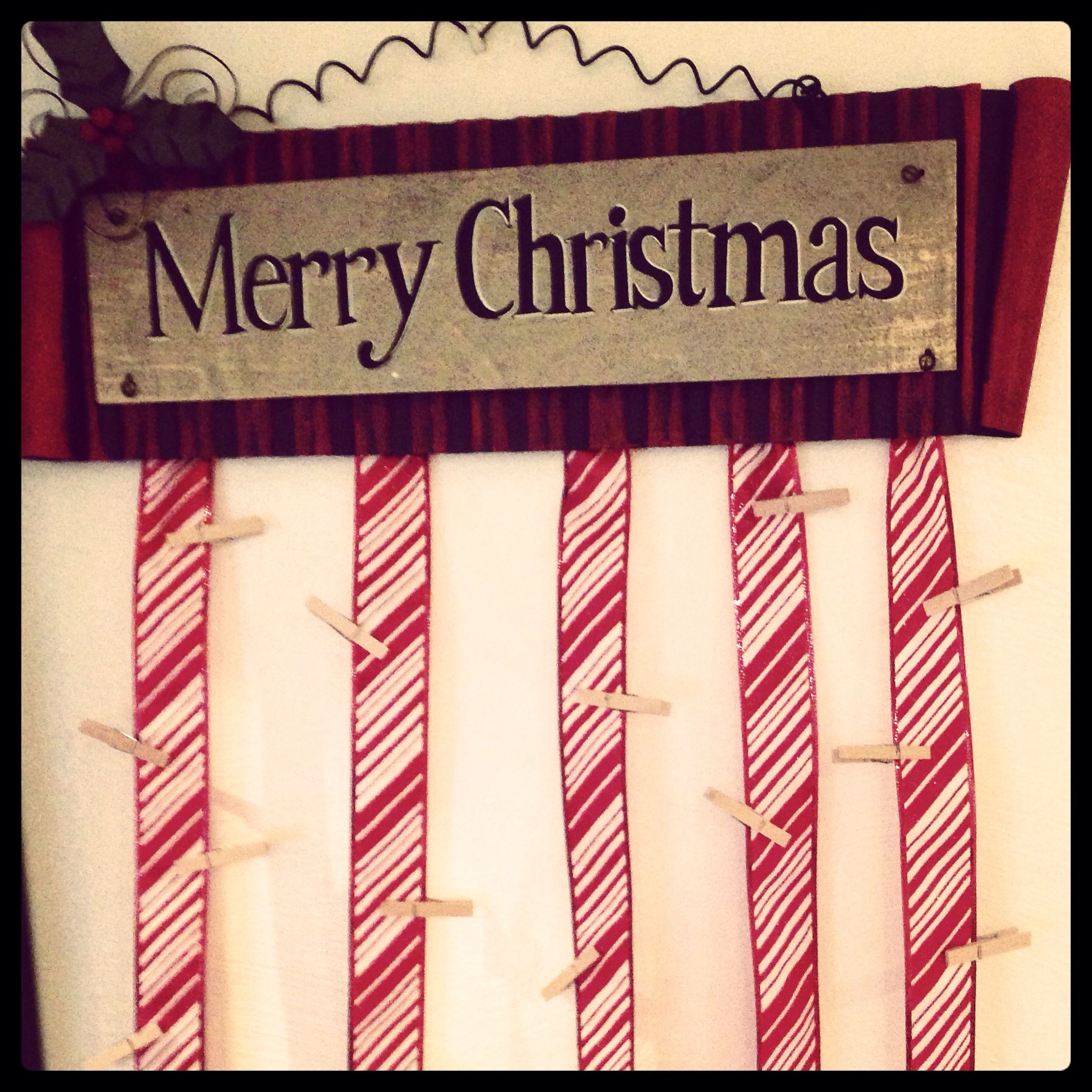 Christmas Card Holder Ribbon Attached To Sign From Joann With