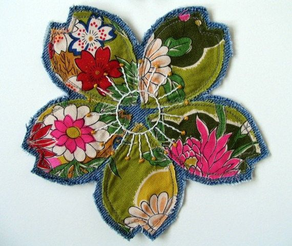 Hand Embroidered Patch, Spring Flowers, Avocado Green Gold Pink Multicolor Bohemian Flower Patch, Upcycled Denim, Festival Clothing