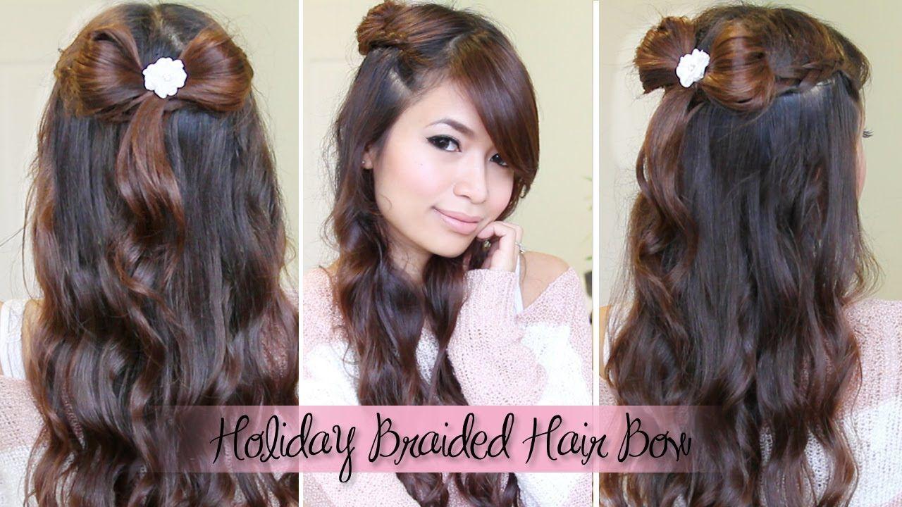 Dutch Braid & Hair Bow Half Updo Hairstyle for Medium Long Hair Tutorial