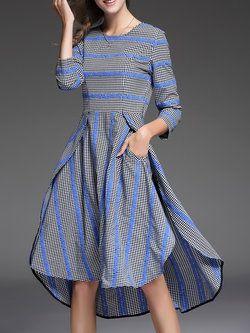 1cb93d8345 Blue Checkered/Plaid 3/4 Sleeve Stripes High Low Midi Dress ...