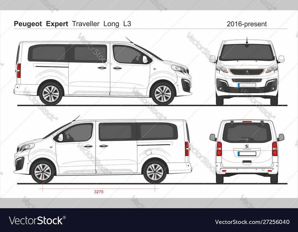 Peugeot Expert Traveller Long Van L3 2016 Present Vector Image On Vectorstock Graphic Design Portfolio Layout Peugeot Renault Master