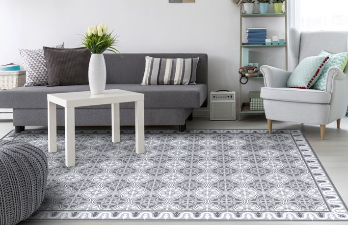 Grey Area Rug With Tiles Pattern Dog