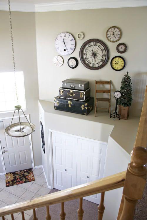 Clock Wall For The Big House Wall Ledge Plant Ledge Decorating High Shelf Decorating