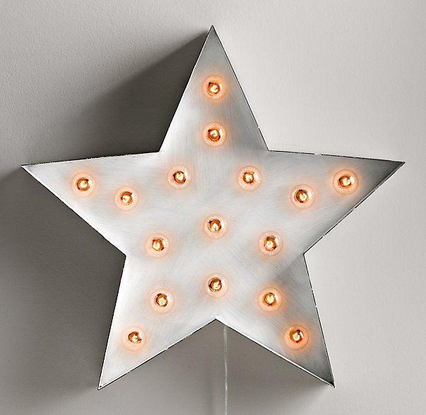 Vintage Illuminated Star White Restoration Hardware Baby Metal Stars Light Decorations