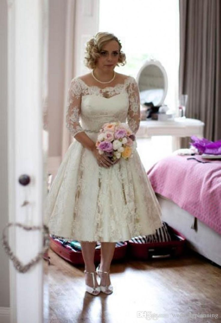 plus size full lace wedding dresses scoop illusion half long