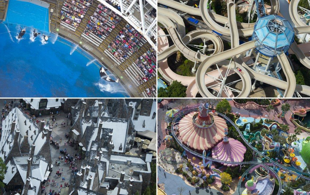 Having a whale of a time: Photographer's stunning aerial shots show Florida's most famous theme parks from above
