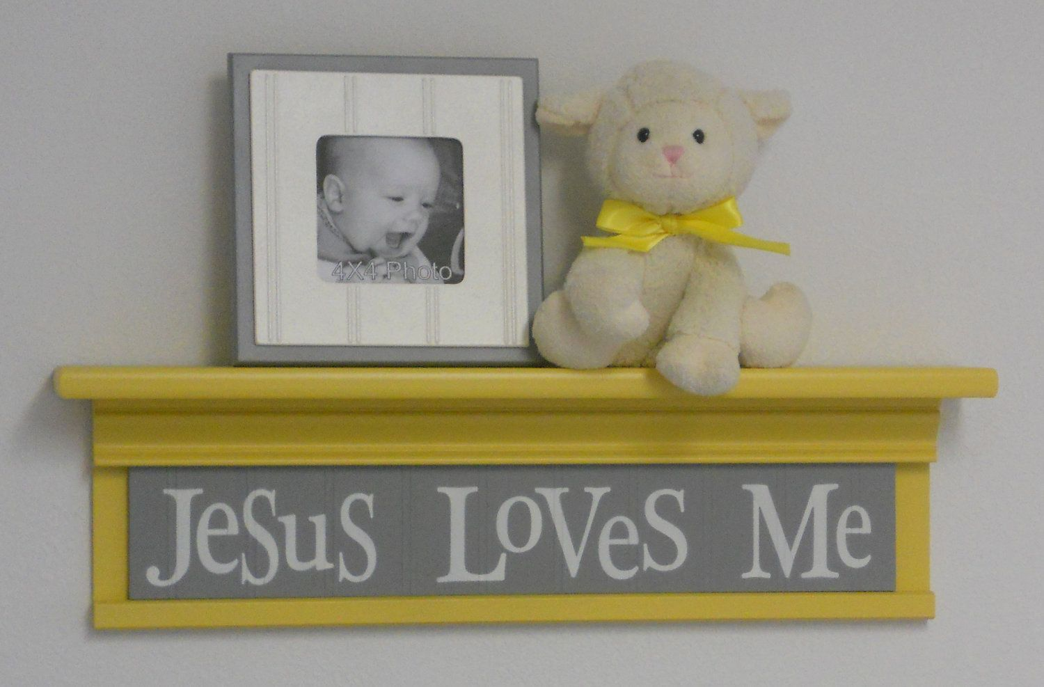 Yellow Christian Wall Decor Art for Nursery - Jesus Loves Me on 24 ...