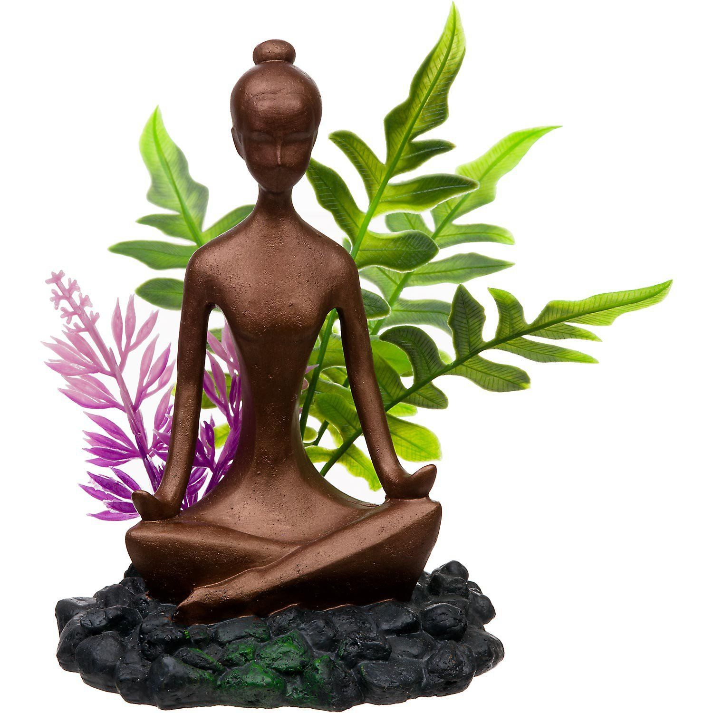Blue Ribbon Zen Girl with Plants Aquarium Ornament
