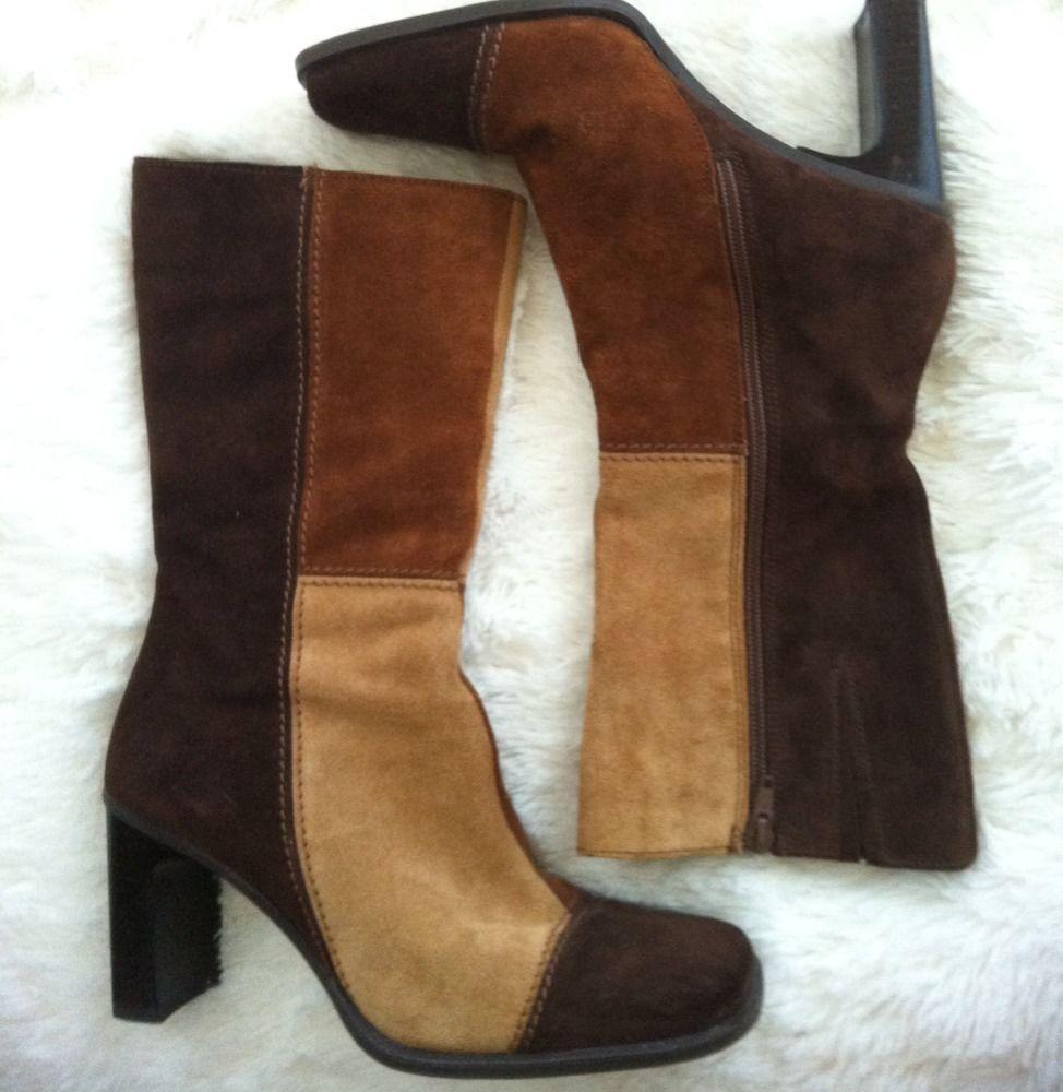 Vintage Aldo Patchwork Suede Boots ~ Boho Hippie Woodstock size 7