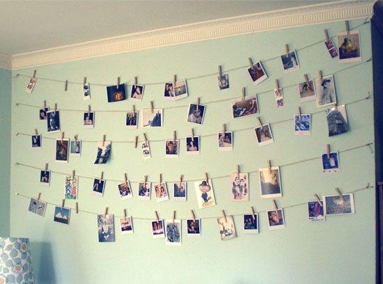 Hang Photos From Ribbon And Clothespins