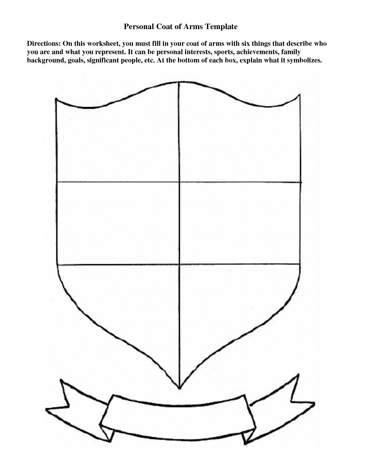 Worksheets Coat Of Arms Worksheet personal coat of arms template education pinterest bulletin board template