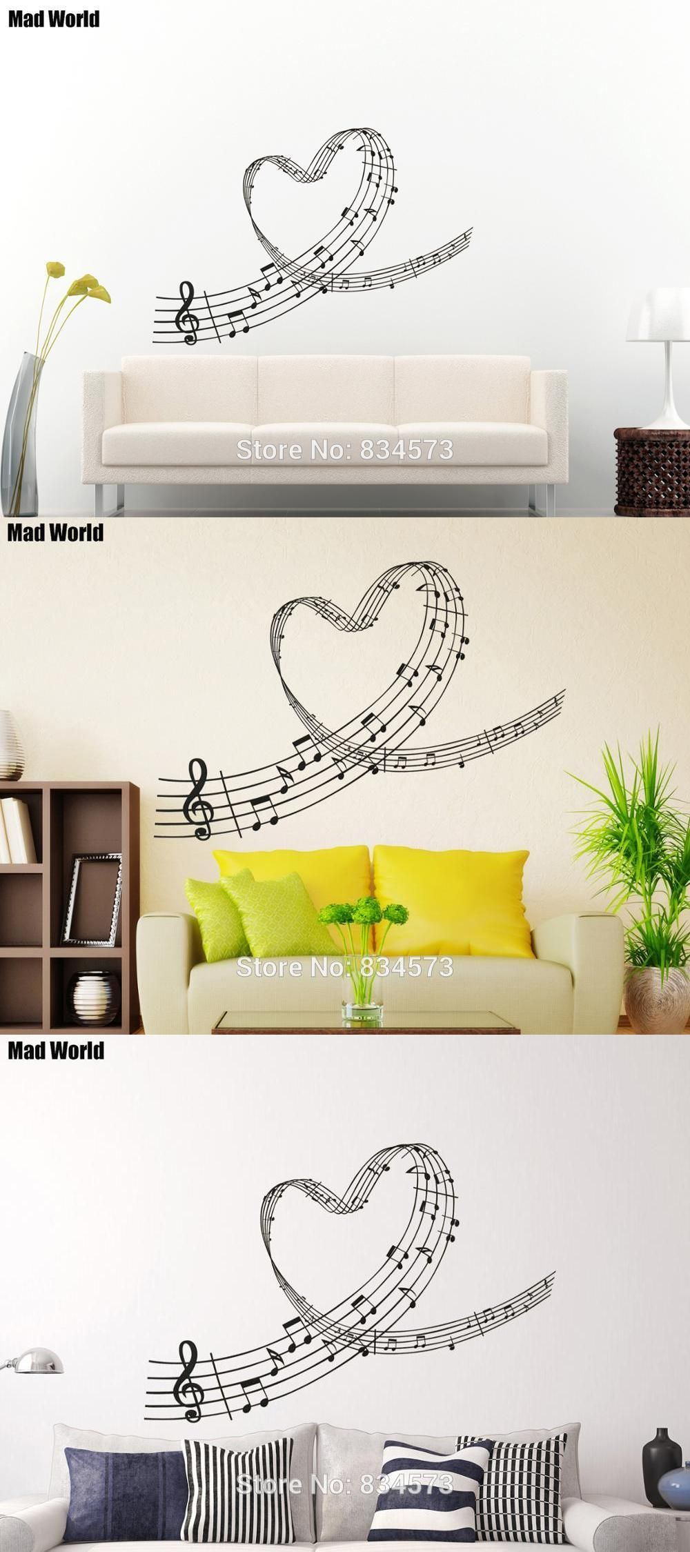 Mad World Music Love Heart Notes Wall Art Stickers Wall Decal Home DIY  Decoration Removable