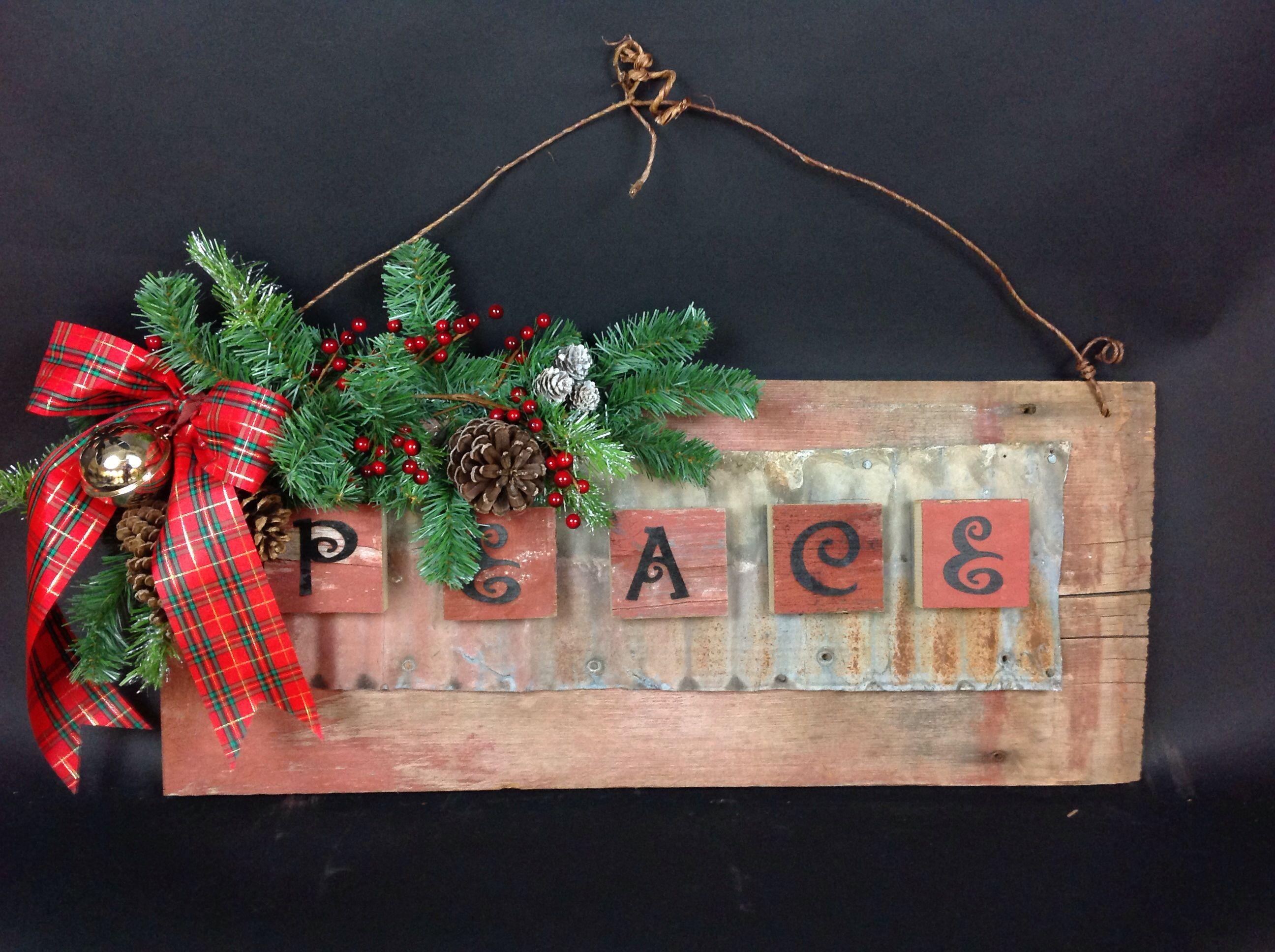 14. Peace Barn Board Rusted Tin Holiday Christmas Sign