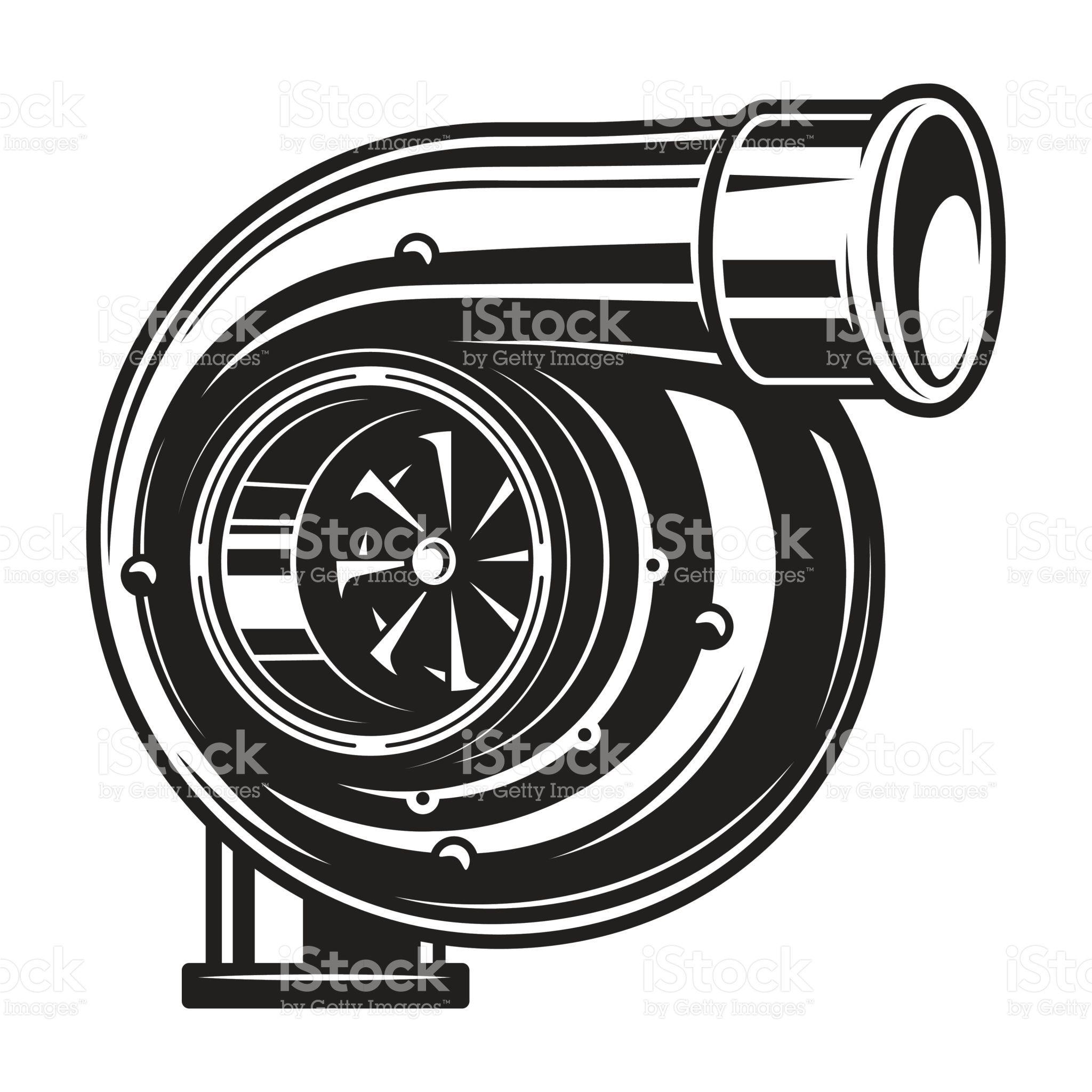 Isolated monochrome illustration of car turbocharger on