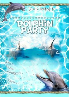 FREE Kids Party Invitations Dolphin Party Invitation NEW