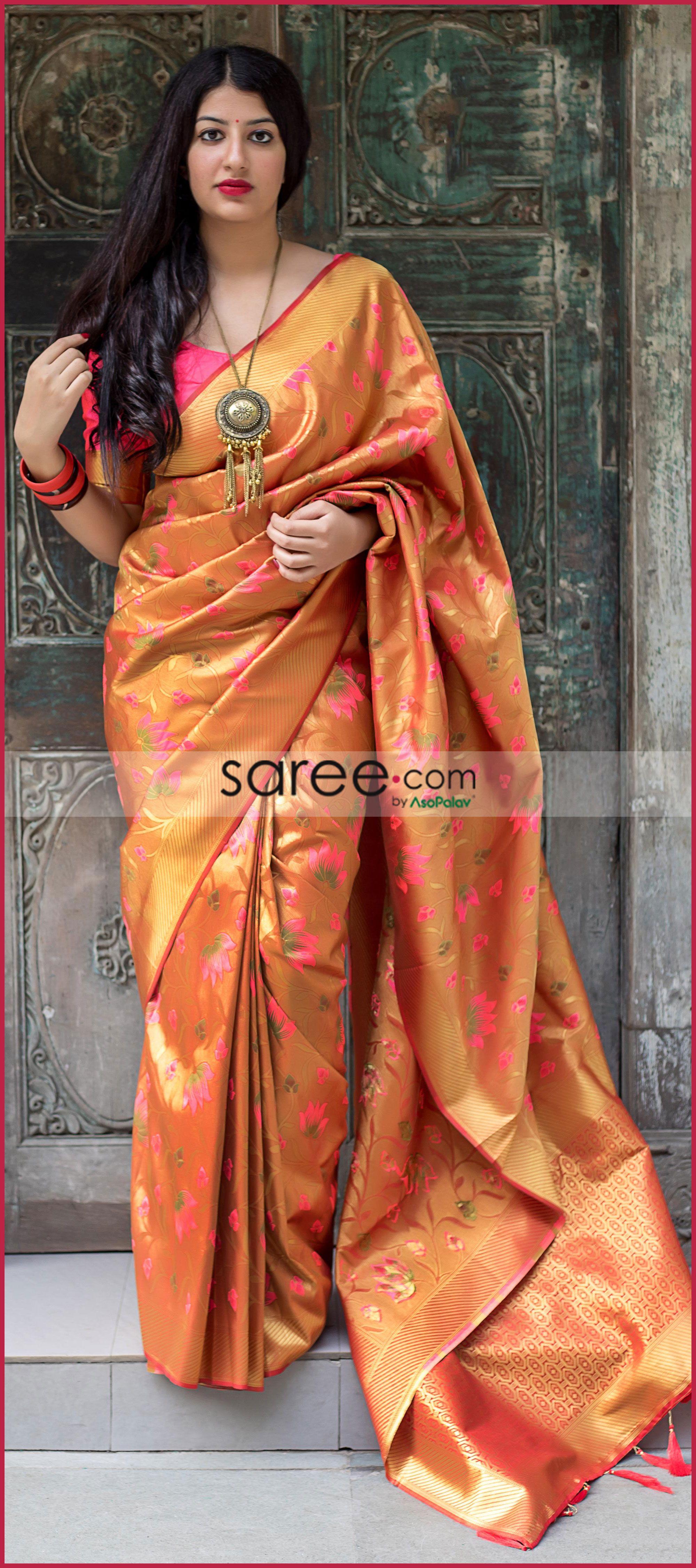 291b2d79ee07c1 Golden Kanchipuram Silk Saree With Multi Colored Lotus Motif Weaving ...