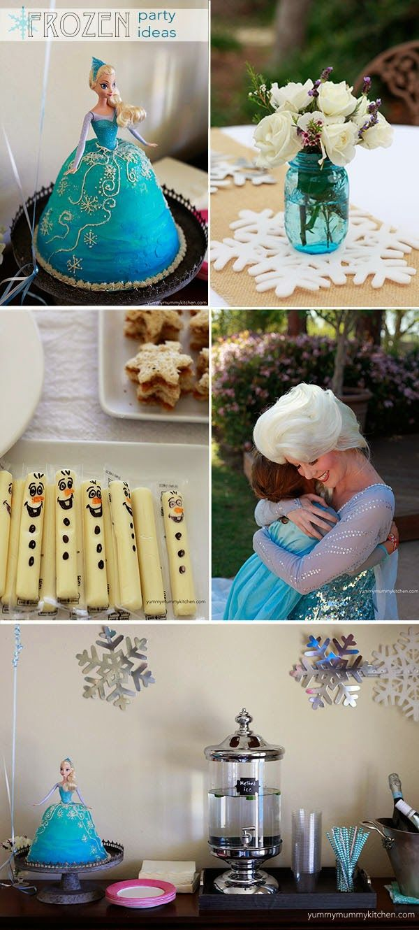 Yummy Mummy Kitchen: Disney Frozen Party Ideas- I'm sure the Olaf Snowman cheese sticks took awhile but they are so cute! #Disney #Frozen birthday party