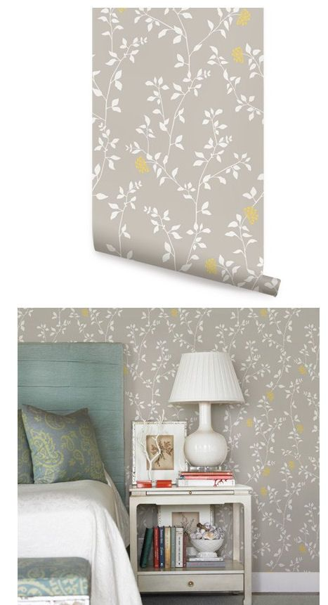 Branch Flower Grey Yellow Peel Stick Wallpaper Peel And Stick Wallpaper Hallway Wall Art Wall Wallpaper