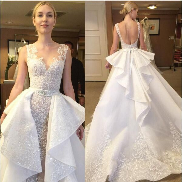 Luxury Lace Beaded Over Skirts Sheer Neck Elie Saab Wedding