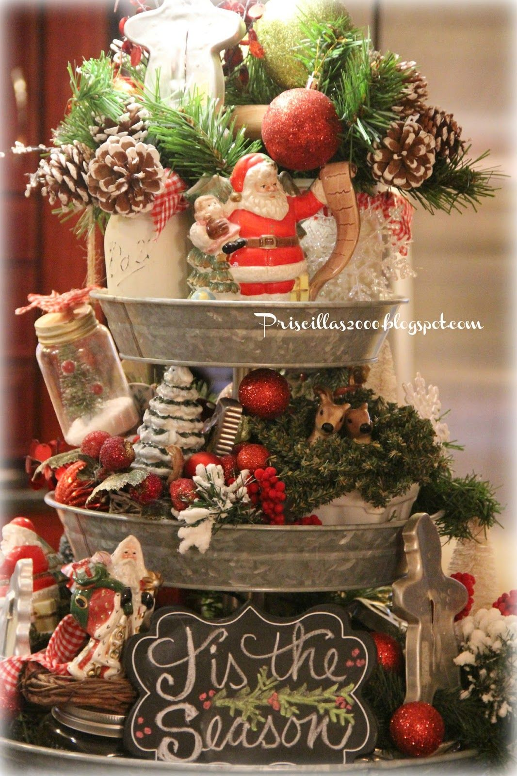 Christmas Galvanized Tiered Tray 2015 Christmas Decor