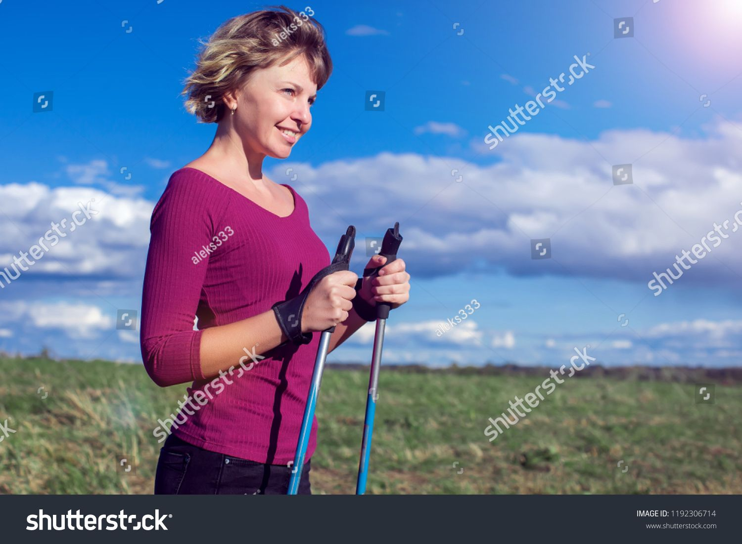 Nordic Walking Exercise Sport Adventure Hiking Concept A