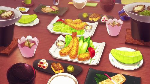Cena a base di riso, frittura, salse, pesce, melone bianco