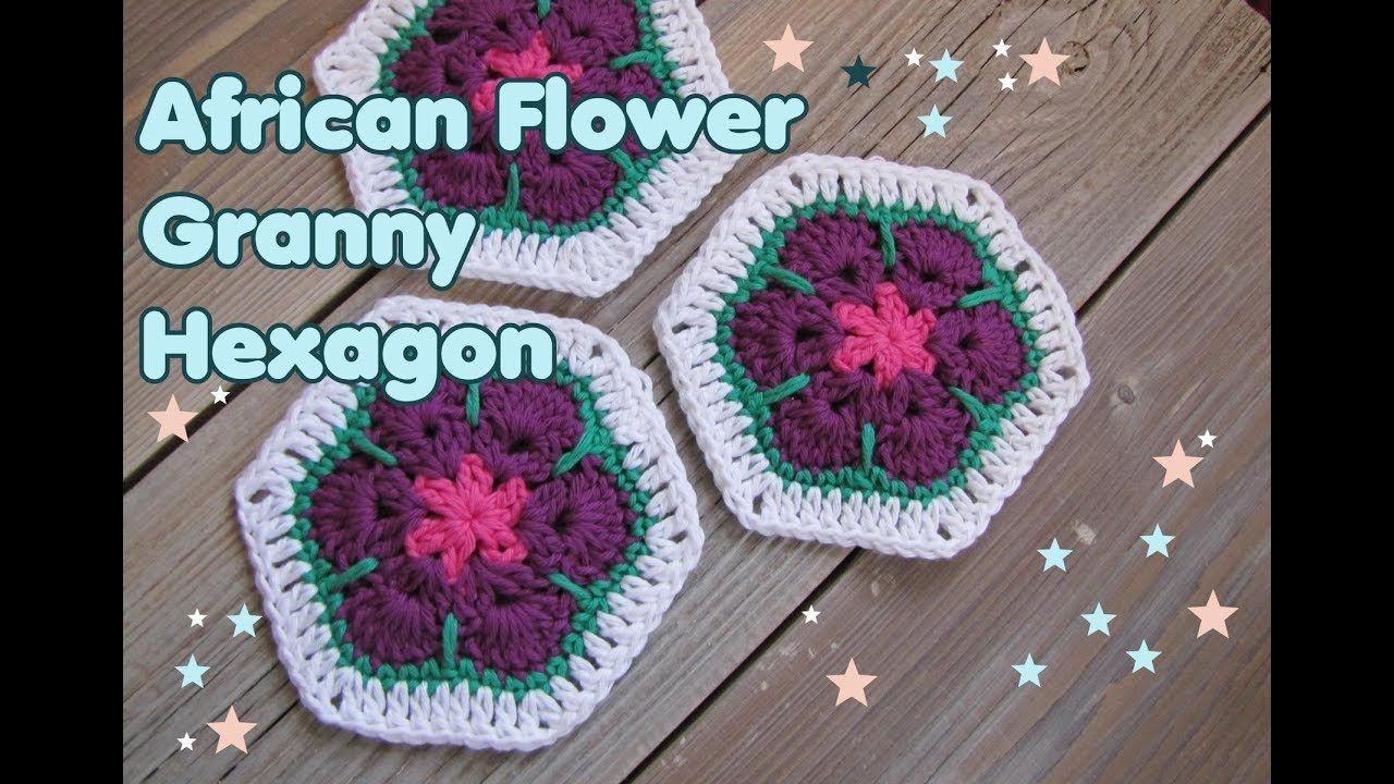 African Flower Granny Hexagon Häkeln Sechseck Crochet Häkeln