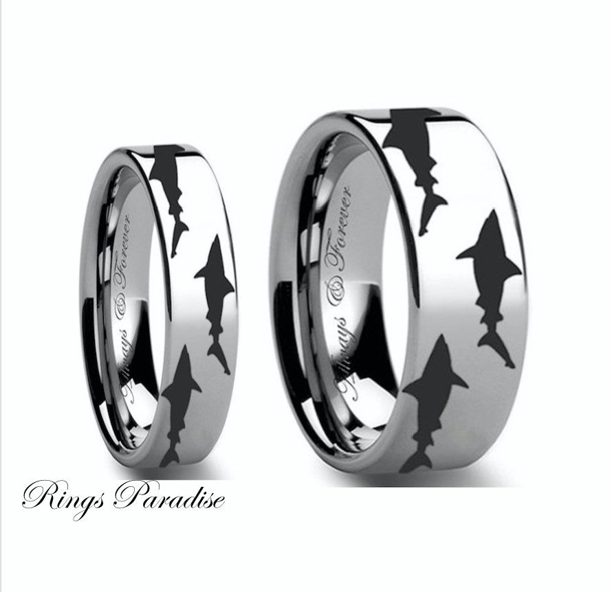One of a Kind Wedding Band Shark Tungsten Band Promise Rings