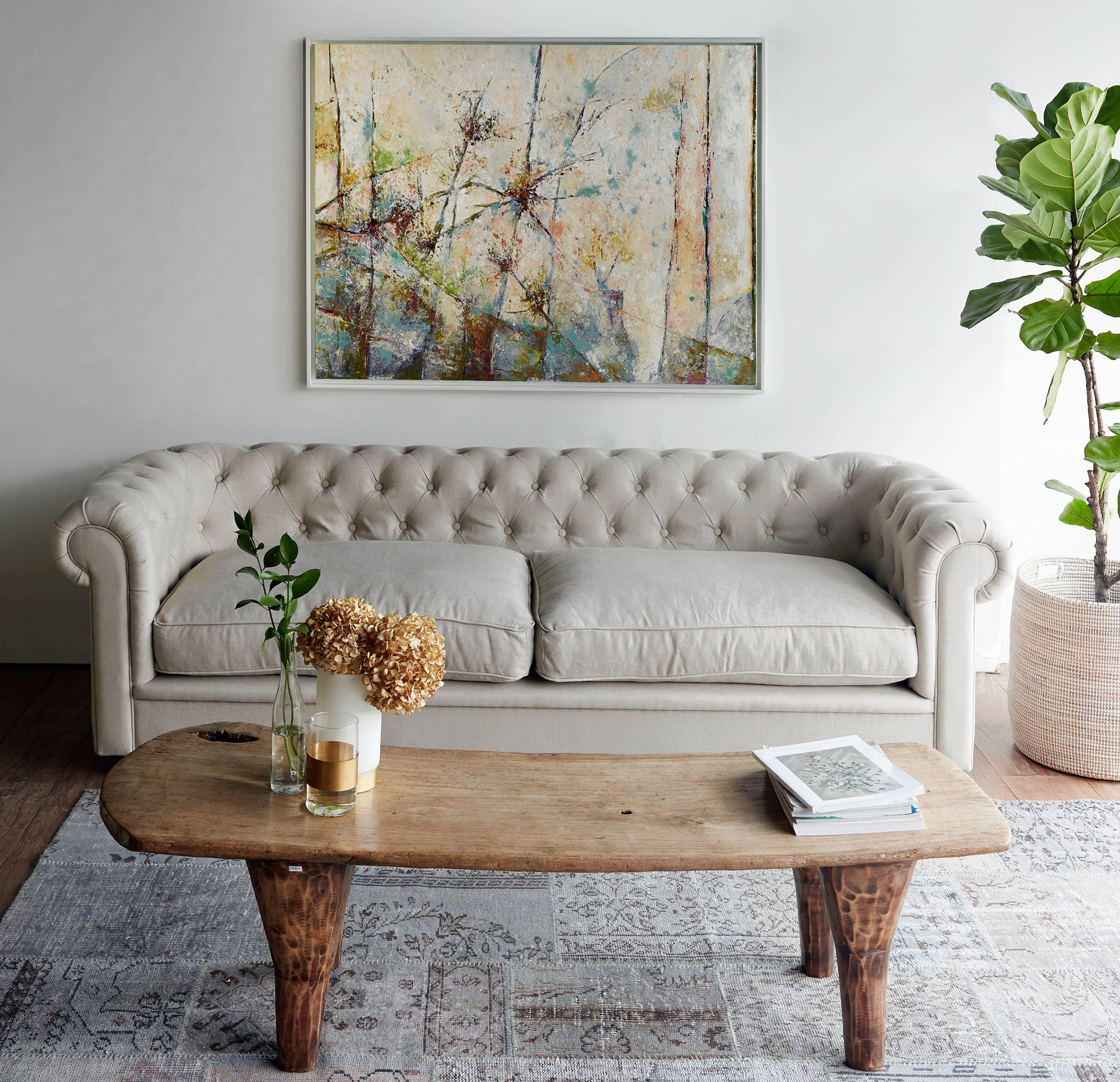 Nomad Home Arnold 3 Seater Chesterfield Sofa Natural $2800