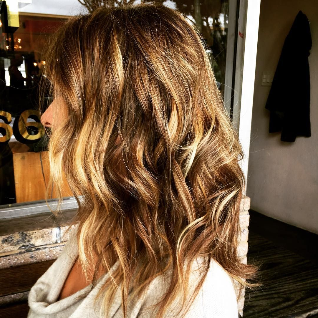 Chestnut Brown Wavy Shoulder Length Hair With Layers And White