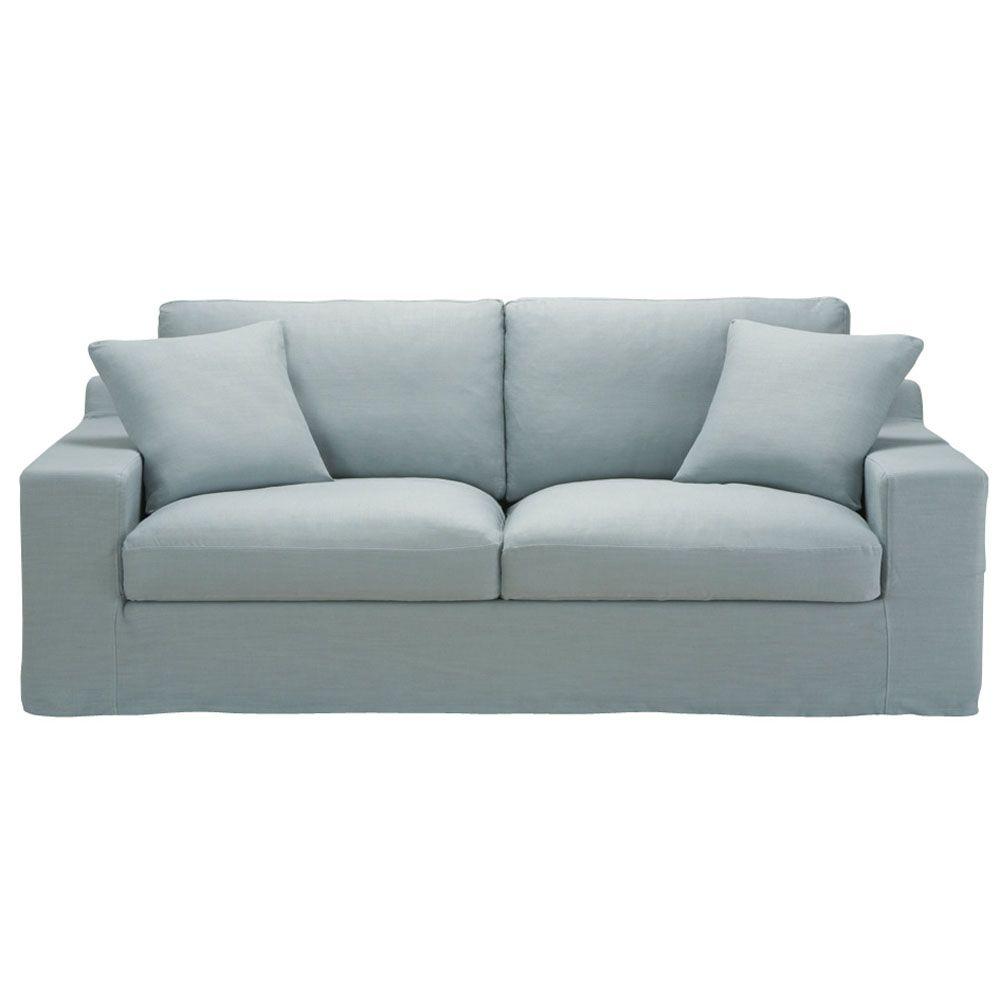 Vaste zitbank met 3 plaatsen grijsblauw linnen STUART | Bankstel ...
