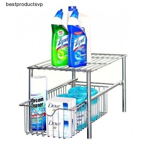 #Ebay #Under #Sink #Chrome #Organizer #Cabinet #Storage #Stackable #Kitchen #Bath #Shelf #Drawer #DecoBros