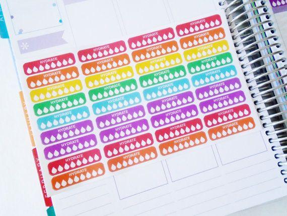 Hydrate Stickers - Water Stickers - Water Tracker Stickers - Erin Condren Life Planner - erin condren planner stickers - plum planner