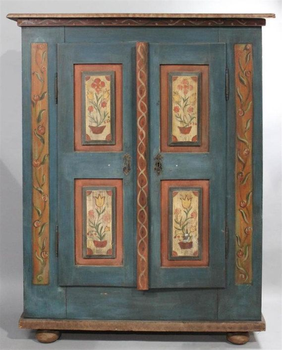 Painted In Teal And Fl Motif