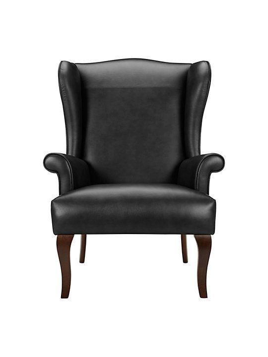 John Lewis Partners Shaftesbury Leather Wing Chair Dark Leg