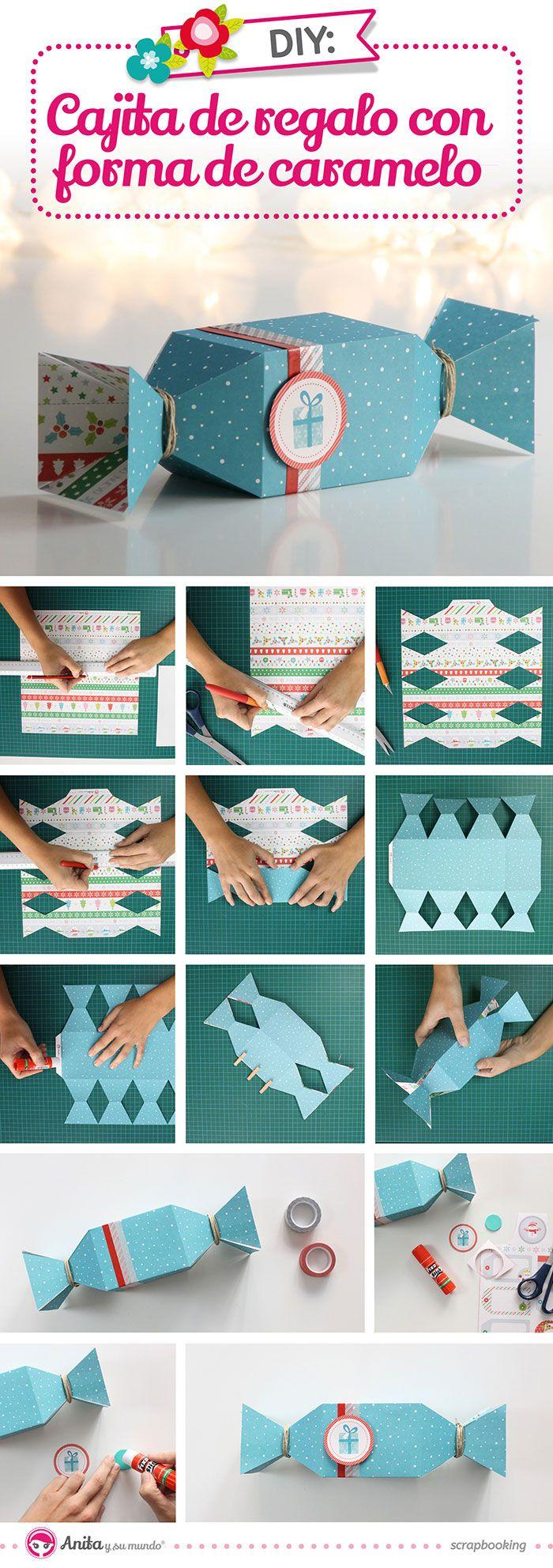 Cómo hacer una caja de papel con forma de caramelo paso a paso. #candybox…