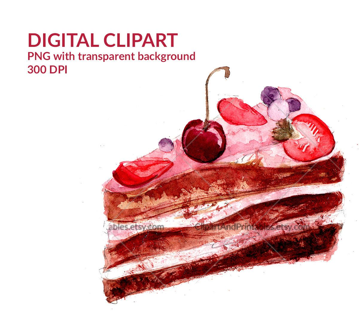slice of chocolate cake decorated with cherry digital illustration watercolor clip art with transparent [ 1200 x 1062 Pixel ]