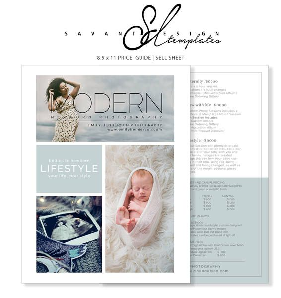 Price Guide Photography Templates Newborn Marketing text editing - sell sheet template