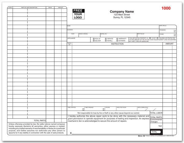 Appliance Service Form Custom Printing HVAC/Appliances