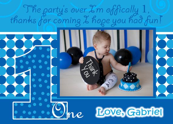 Boy thank you card everything one boy birthday thanks 1st birthday boy thank you card everything one boy birthday thanks 1st birthday boy birthday party 1 boy baby blue thank you dots photo card picture card bookmarktalkfo Image collections